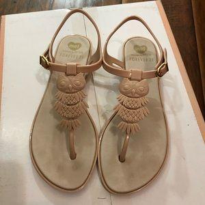 "Gold pink ""owl"" sandals"